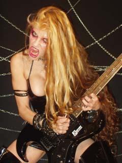 Guitar playing bass nude woman